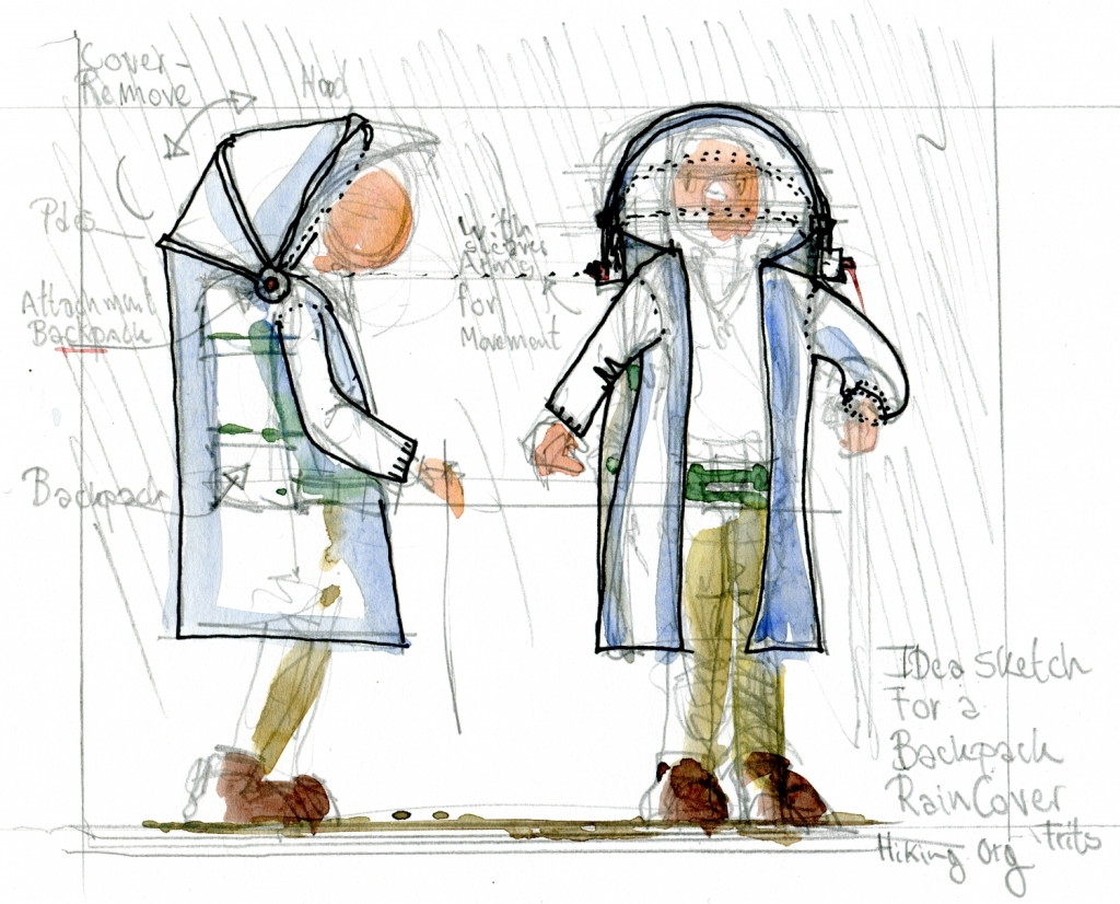 Concept sketch by Frits Ahlefeldt of a rainjacket and backpack cover design