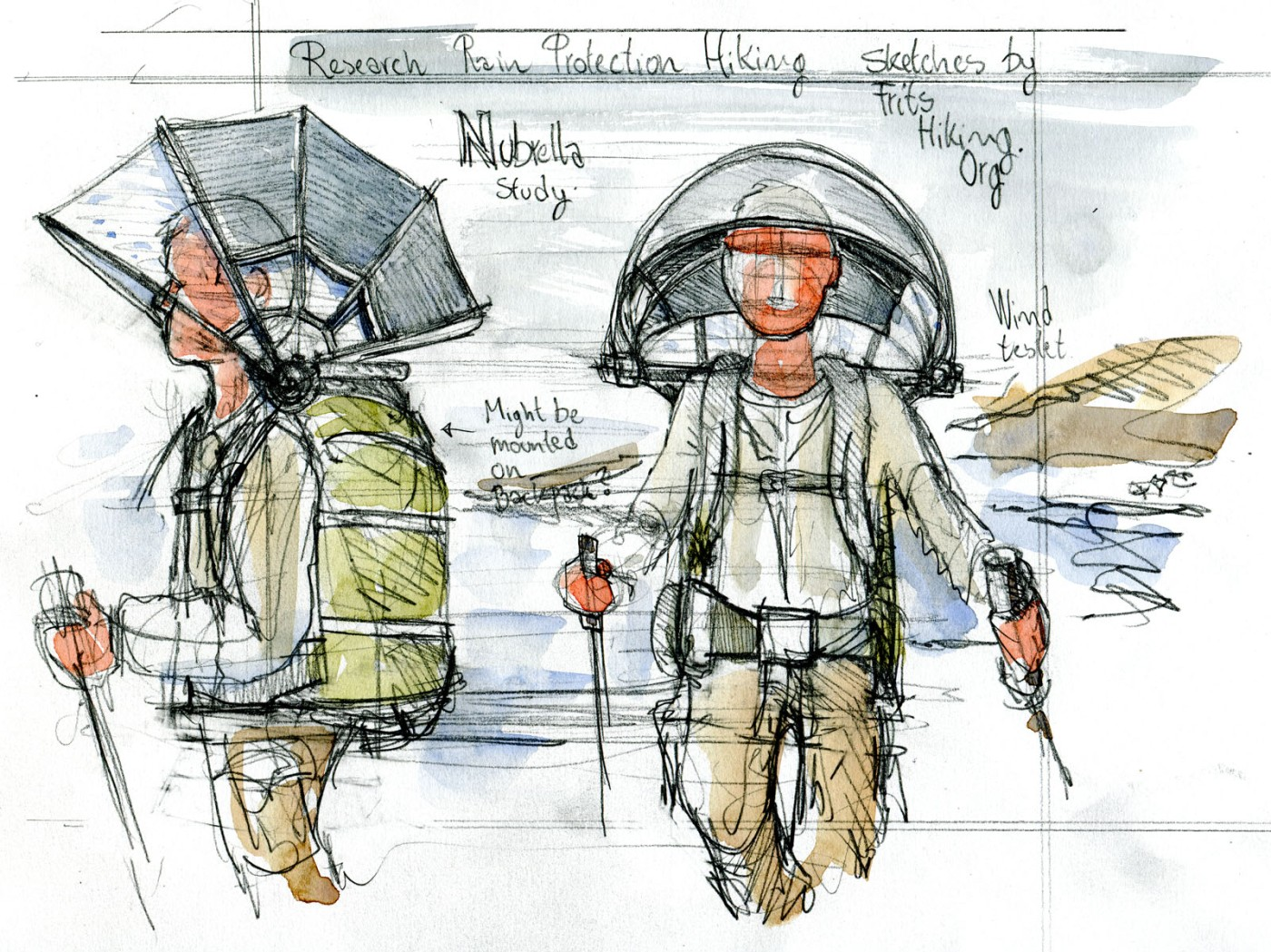 Research drawing of the Nubrella umbrella concept. Drawing by Frits Ahlefeldt