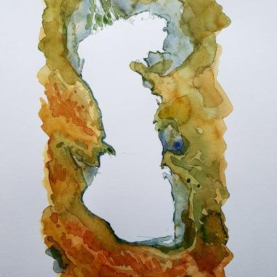 Caspian Sea trail Watercolor map illustration by Frits Ahlefeldt