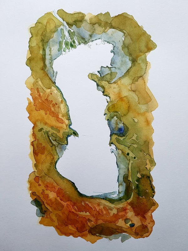 Caspian Sea trail Watercolor map illustration by Frits Ahlefeldt