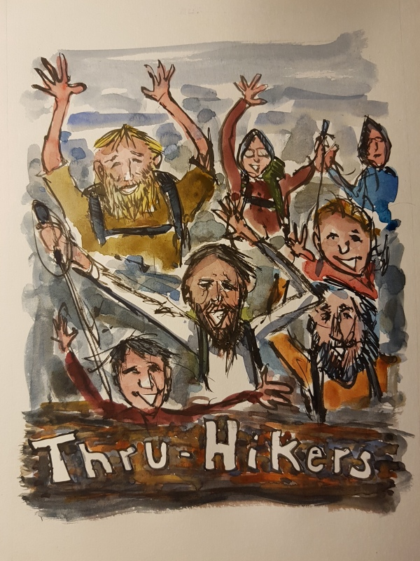 Character study of people hikers finishing hike. sketch by Frits Ahlefeldt