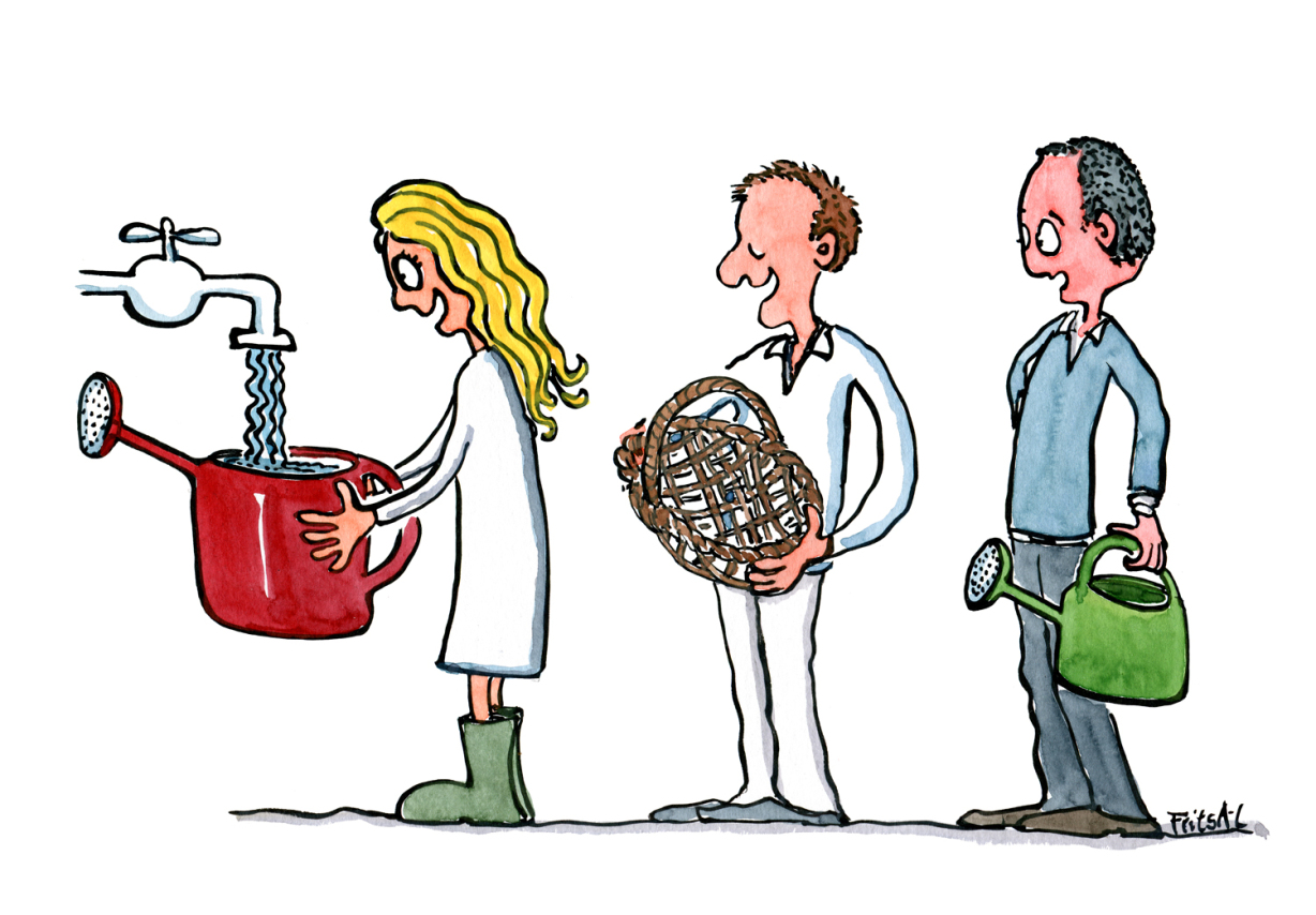 Drawing of a woman filling a water can with water while a man waiting for his turn to fill his basket with water... illustration Frits Ahlefeldt