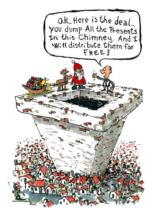 Santa Claus on top of a huge city wide chimney with a businessman wanting to take over distribution Cartoon by Frits Ahlefeldt