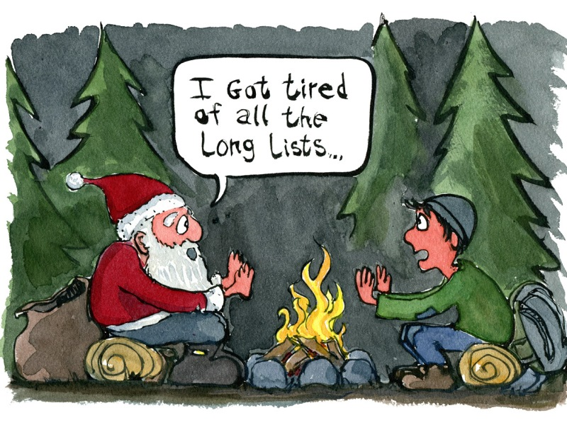Hiker and Santa Claus sitting at a fireside. Cartoon illustration by Frits Ahlefeldt