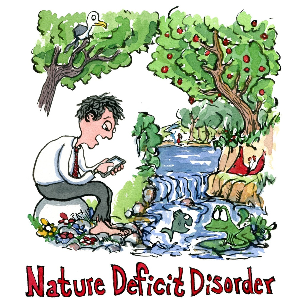 illustration of a man-in-nature deficit-disorder-technology-by-frits-ahlefeldt
