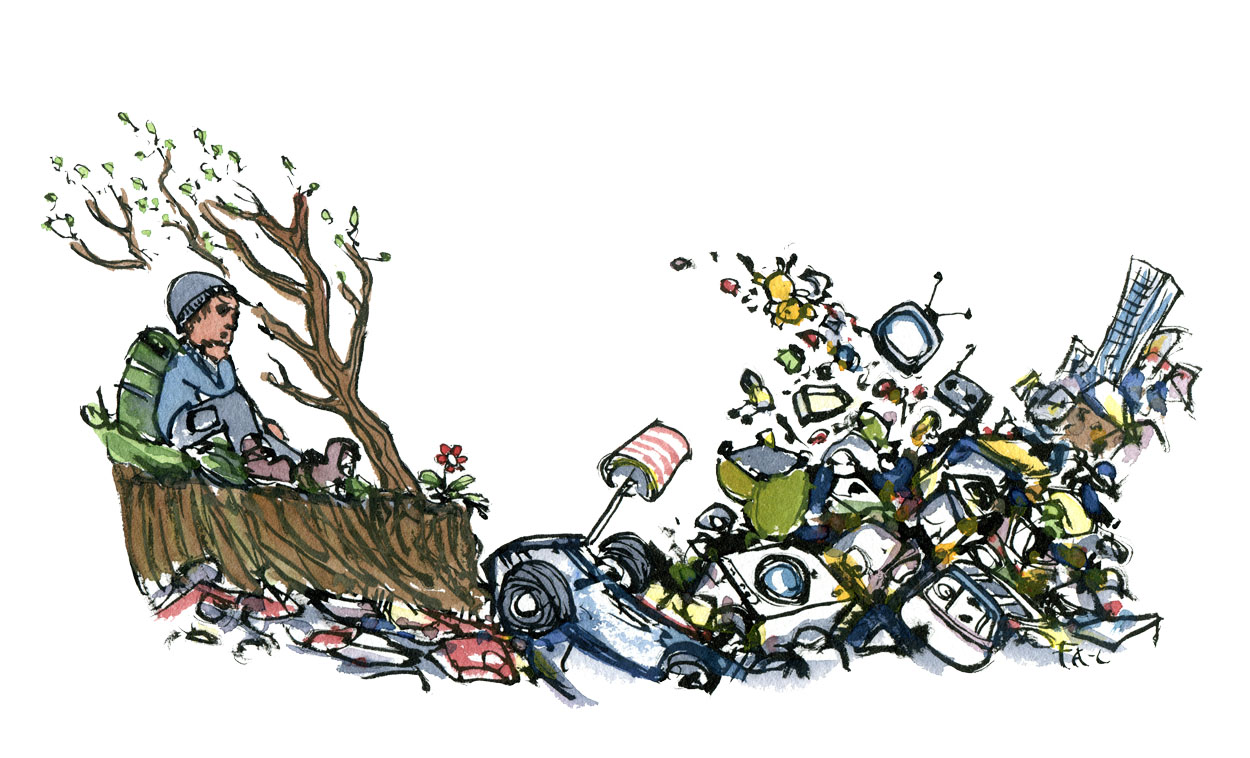 Hiker sitting in nature by place filled with dumped stuff, car wrecks and other products. illustration by Frits Ahlefeldt