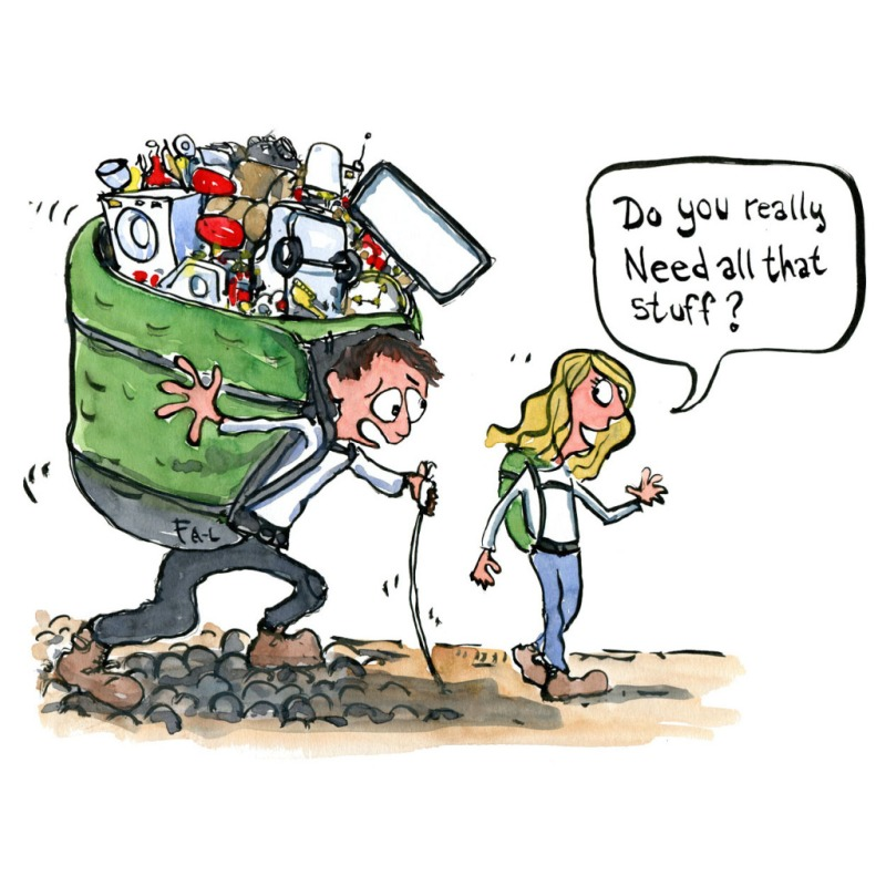 Drawing of a hiker with a heavy backpack and woman asking him do you really need all that stuff? Illustration by Frits Ahlefeldt