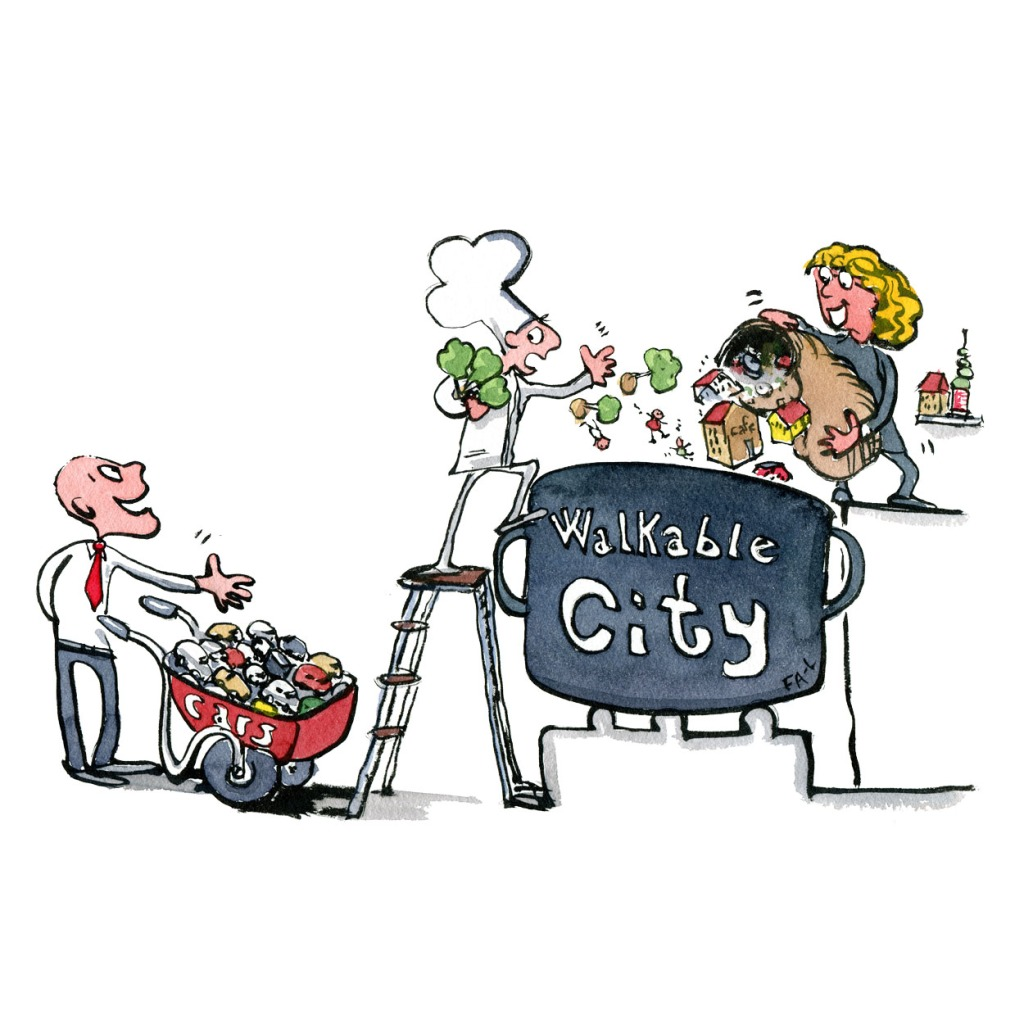 Walkable city designers and project workers getting an offer from a man with a wheelbarrow full of cars. illustration by Frits Ahlefeldt