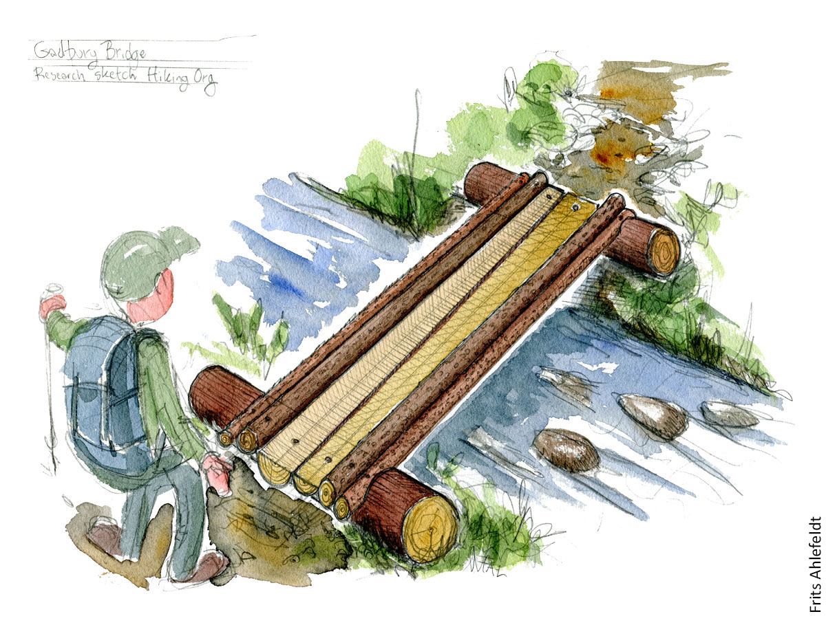 Drawing of Gadbury hiking wood bridge design by Frits Ahlefeldt
