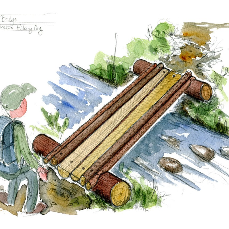 Drawing of Gadbury hiking wood bridge design by Frits Ahlefeldt