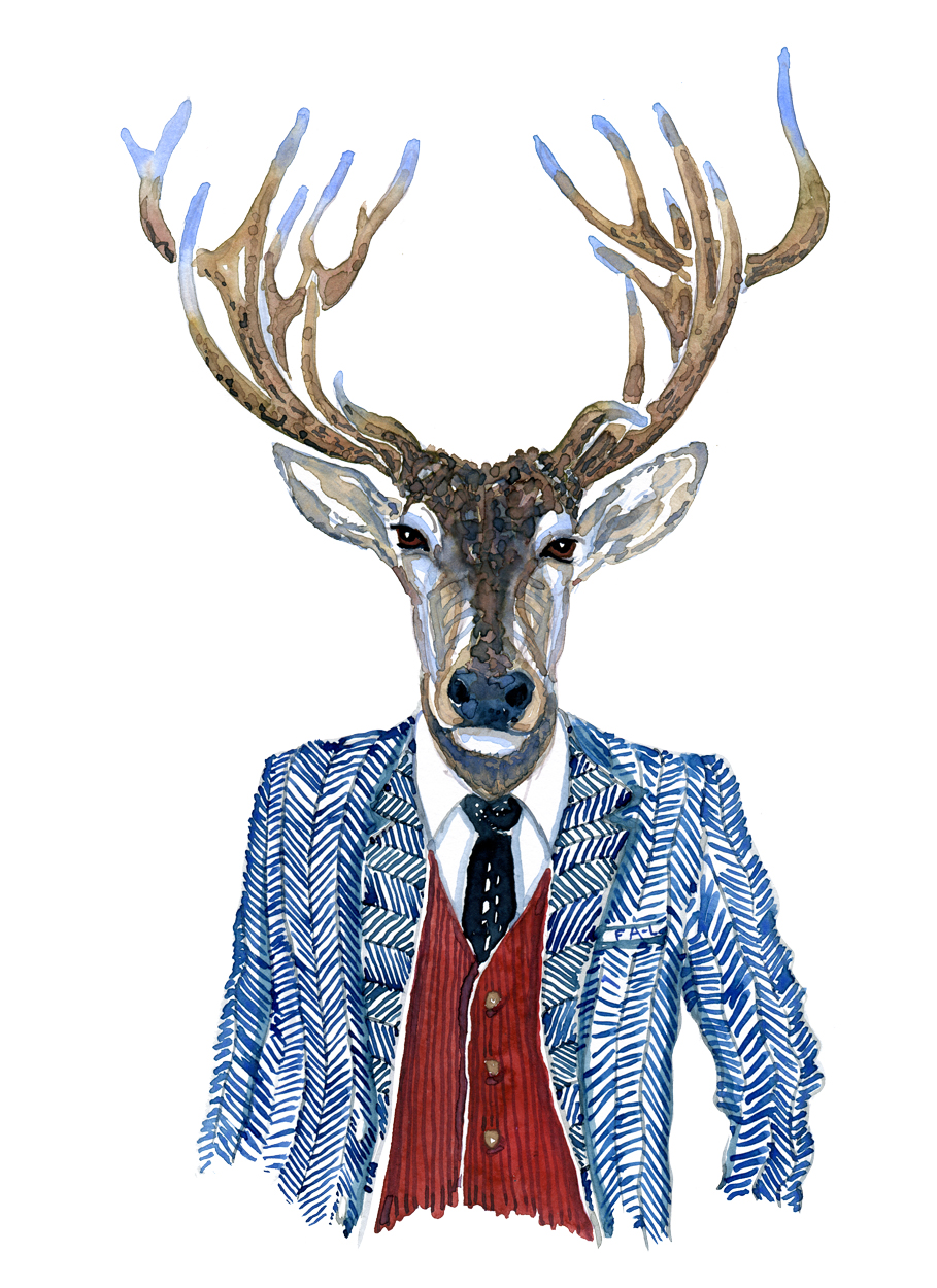 Illustration of a red deer in a blue jacket and west. Watercolor by Frits Ahlefeldt