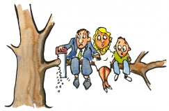 man saving of the branch he and his family is sitting on