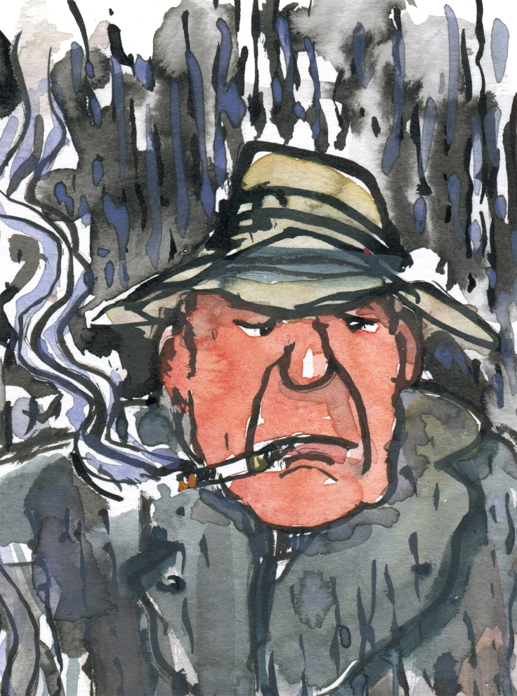 illustration of a man in cottoncoat in the rain with a cigarette - drawing by Frits Ahlefeldt