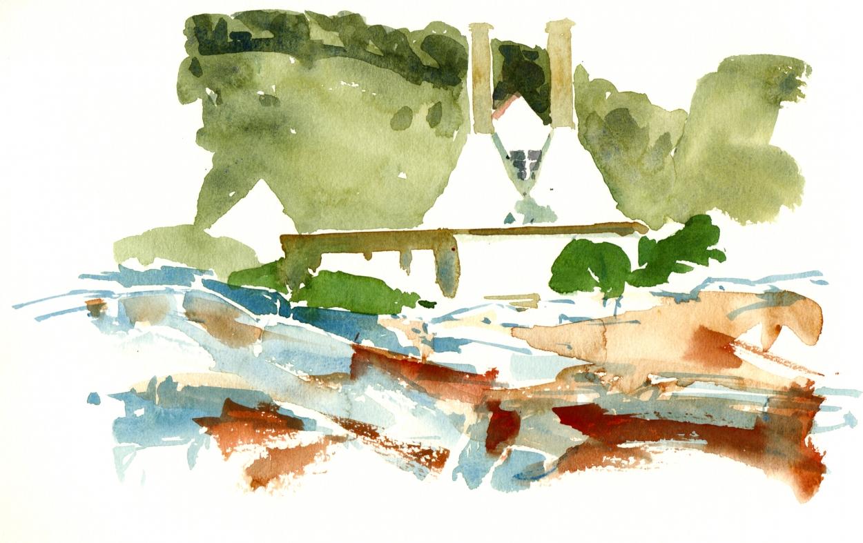 Smoke houses Watercolor Bornholm