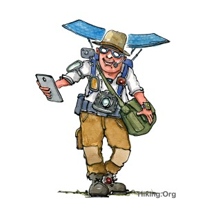 Drawing of a digitalized hiker