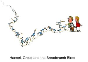 Drawing about the old fairy tale about Hansel and Gretel