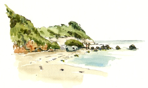 Arnager, beach, Bornholm, Denmark. Watercolor