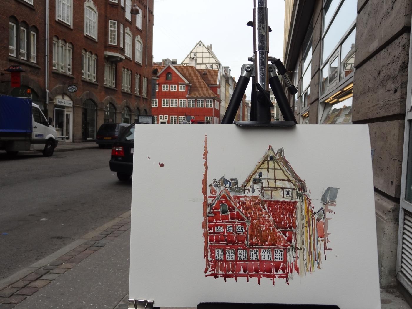 Watercolor of old House, Copenhagen