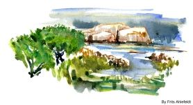 Rocks coastal, east coast, Bornholm, Denmark. Watercolor