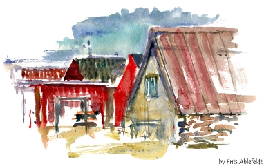 Snogebaek, fishing village, Bornholm, Denmark. Watercolor