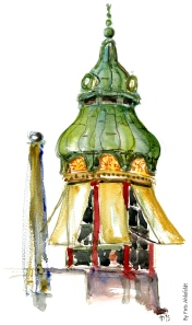 watercolor of a small pavillion cafe'