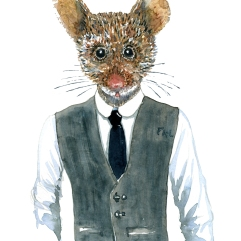 Mouse in clothing Fashion watercolor painting of animal in suit by Frits Ahlefeldt