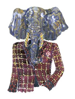 Elephant in a red jacket. Fashion watercolor painting of animal in suit by Frits Ahlefeldt