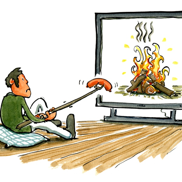 man sitting in front of his large tv flatscreen, trying to make a cosy babecue
