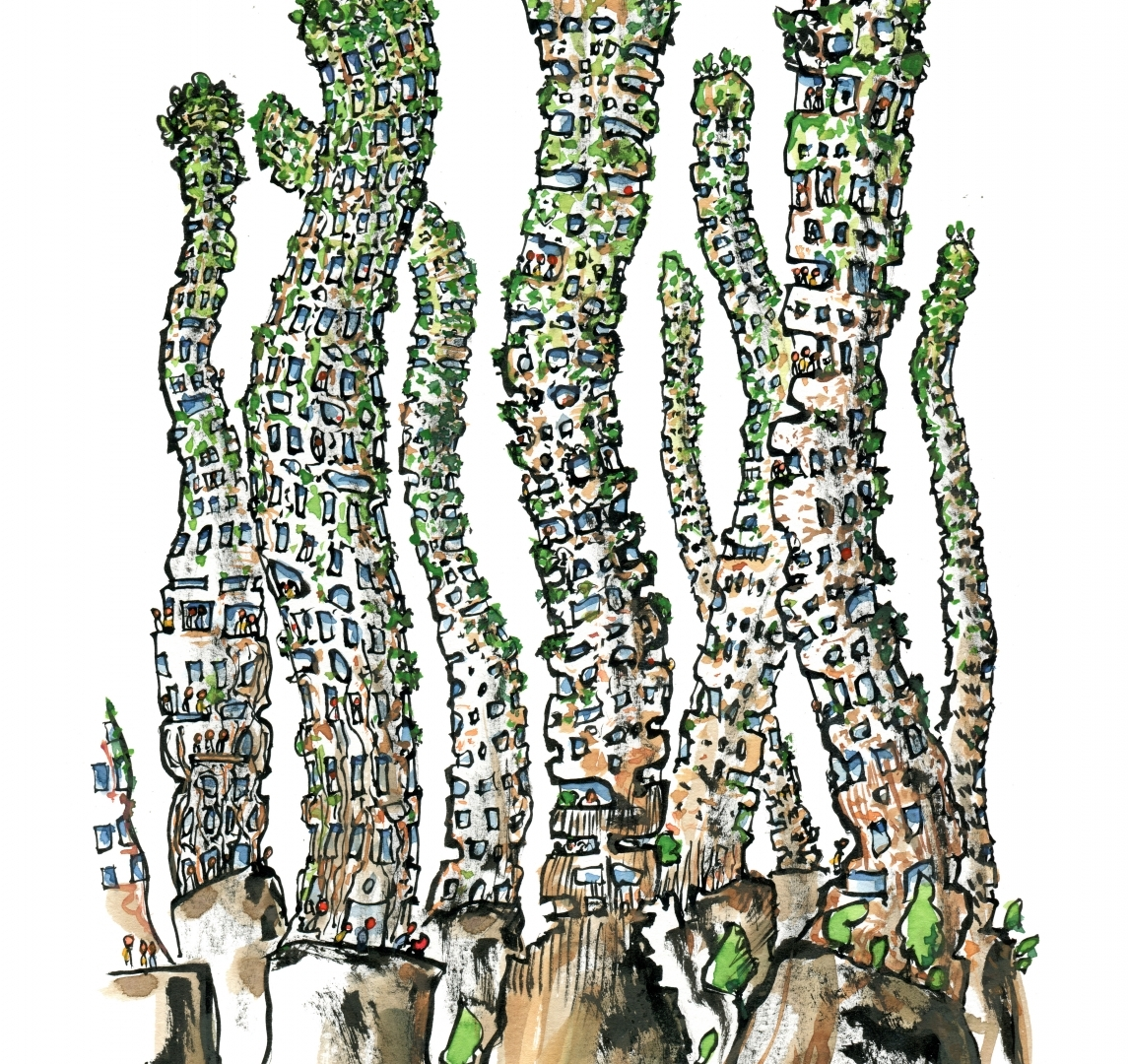 Drawing of a tall green organic building covered by plants