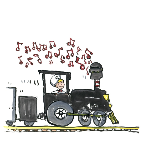 Train running on music, not coal, drawing by Frits Ahlefeldt