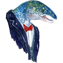 Salmon in clothing Fashion watercolor painting of animal in suit by Frits Ahlefeldt