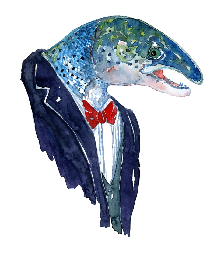 Watercolor of a salmon in a dark suit ( Tuxedo ) Artwork by Frits Ahlefeldt