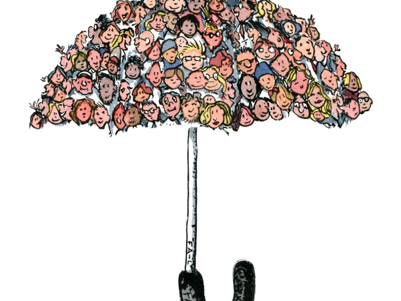 Drawing of an umbrella with faces on it. Illustration by Frits Ahlefeldt