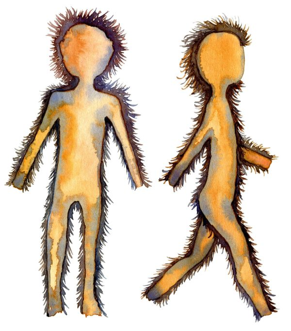 drawing of a human siluette in hair