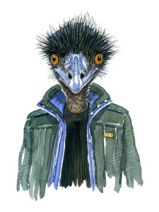Watercolor art of an Emu bird in a green jacket, art by Frits Ahlefeldt
