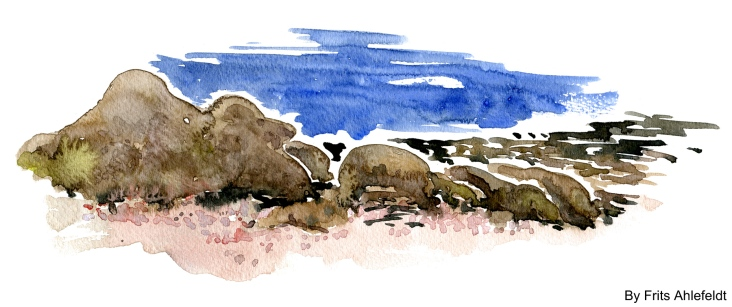 Old granite rocks, Aarsdale, Bornholm, Denmark. Watercolor
