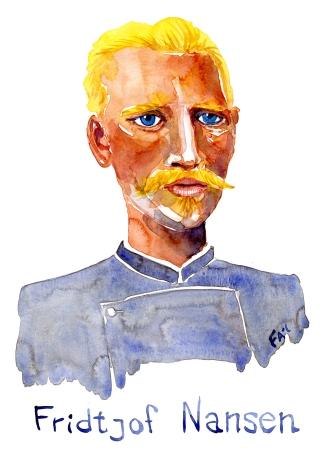 Fridtjof Nansen Watercolor people portrait by Frits Ahlefeldt
