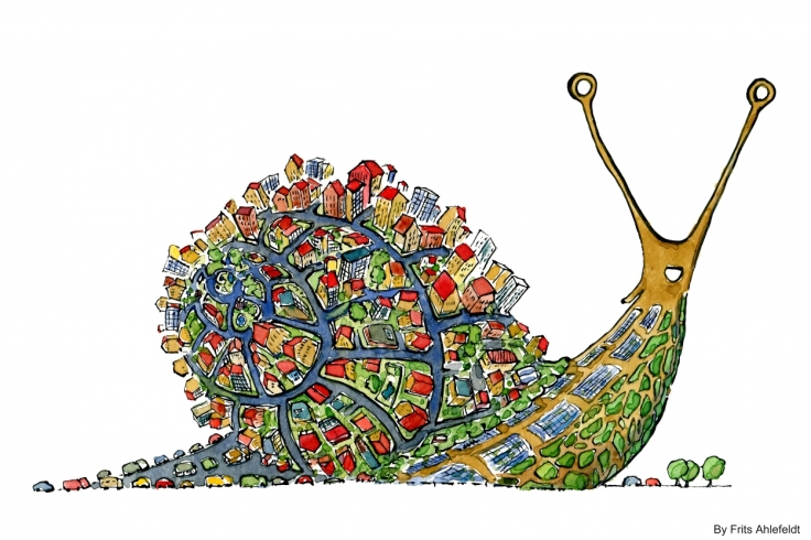 Drawing of a snail with houses on it
