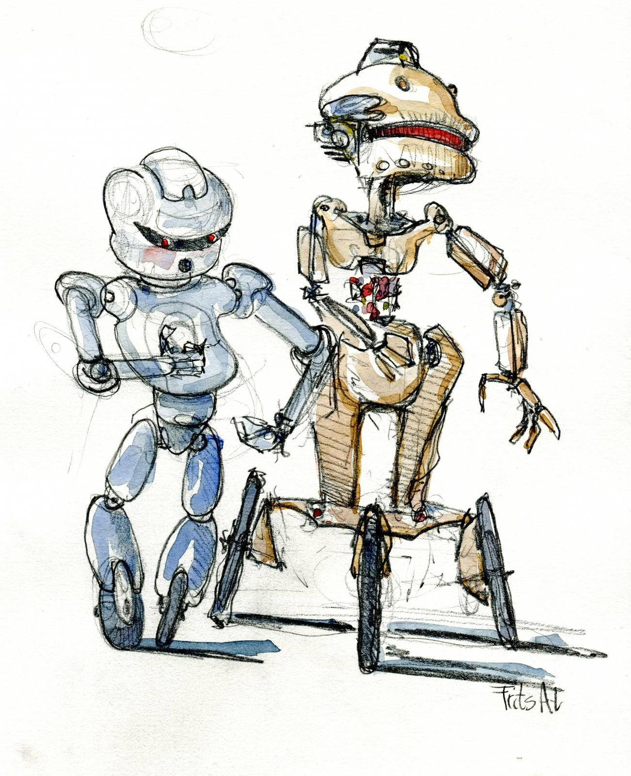 Pencil sketch of a robot on wheels