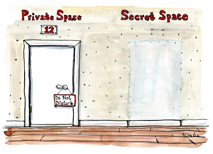 Drawing of two doors one with private space on it and one with secret space on it