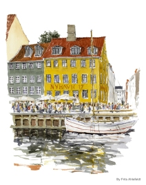 Newhaven, Copenhagen Watercolor painting by Frits Ahlefeldt