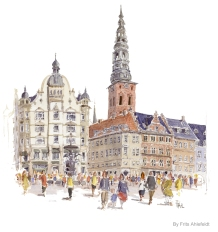 Copenhagen Watercolor painting by Frits Ahlefeldt. Strøget, Cafe' Norden