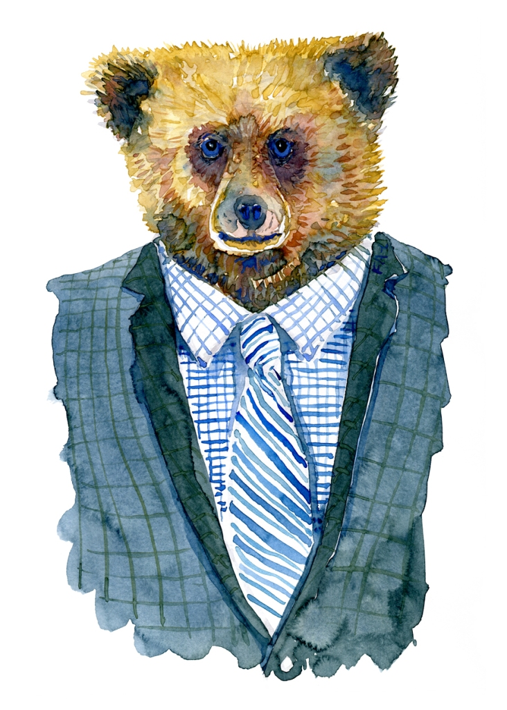 Watercolor of a bear in a suit artwork by Frits Ahlefeldt