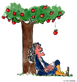 Illustration of Isaac Newton under the apple tree, when the apple falls.