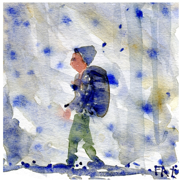Watercolor of man in snow, by Frits Ahlefeldt
