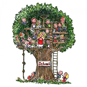 School up in a tree with happy kids drawing