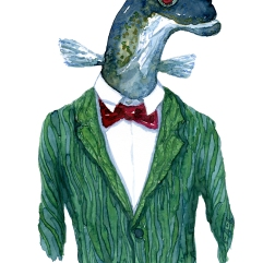 Eel in green suit. Fashion watercolor painting of animal in suit by Frits Ahlefeldt