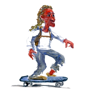 Skater, watercolor sketch by Frits Ahlefeldt