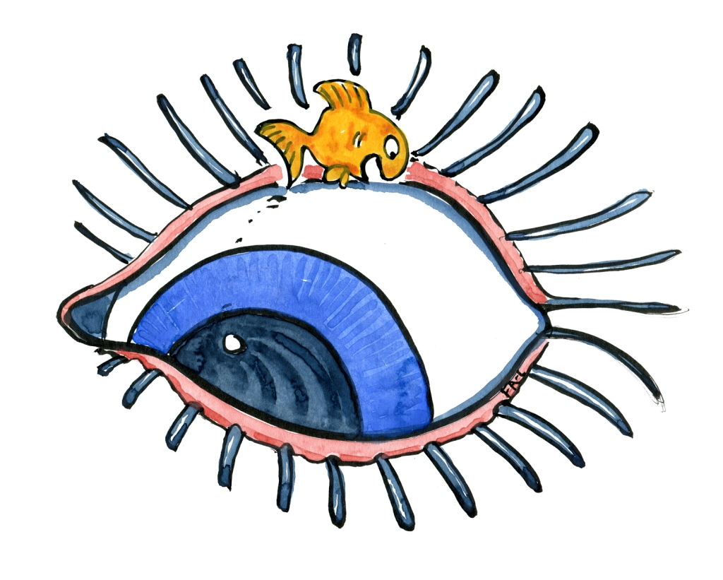 Fish jumping in front of a blue eye, drawing by Frits Ahlefeldt