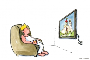 King drinking beer and waiting in front of his TV, with a show of his lost kingdom